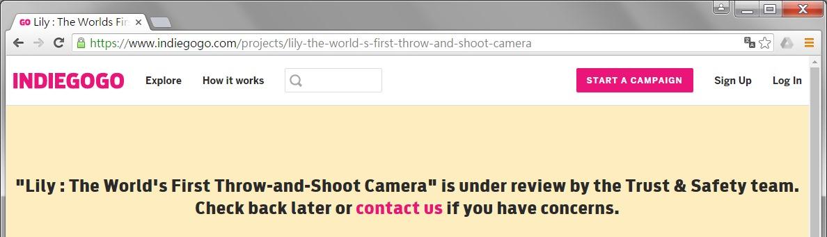 Indiegogo 調查疑似 Lily Camera