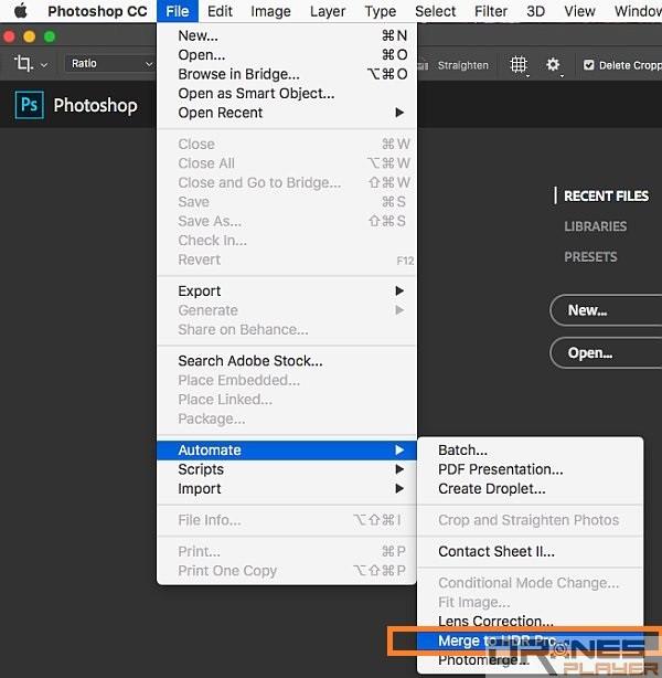 點選按功能表上的 [File],揀選 [Automate] -> [Merge to HDR PRO]。