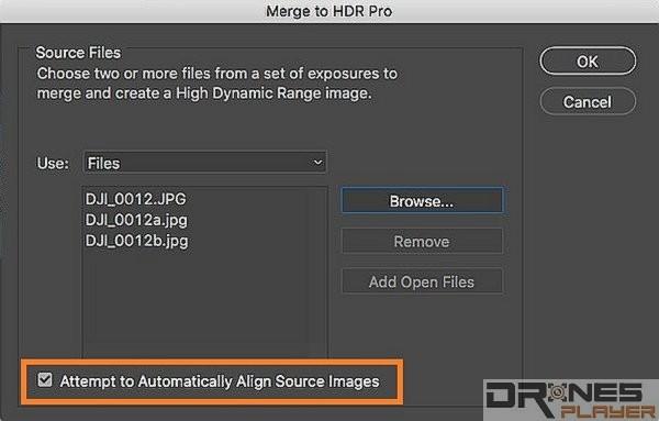 如果航拍時已是使用了不同的曝光值,那可以剔選 [Attempt to Automatically Align Source Images] ,把不同時間拍攝時可能產生的位移修正。