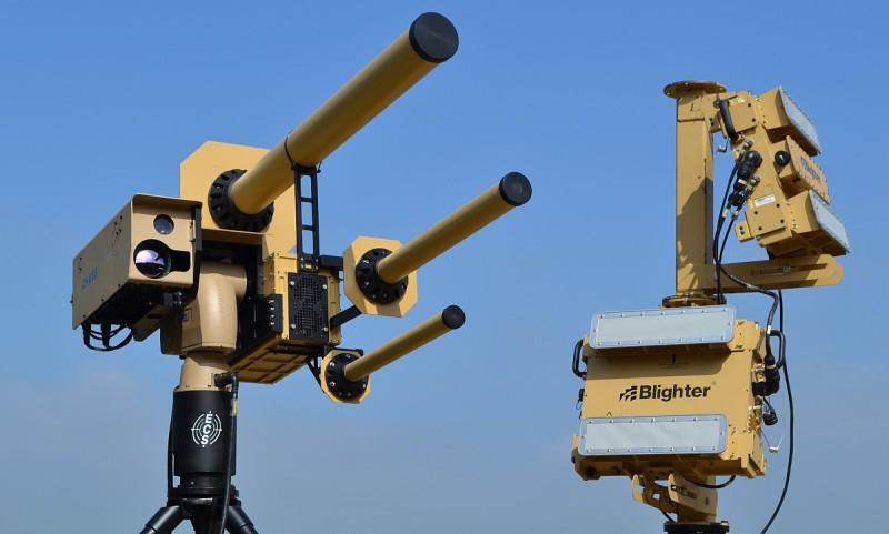 AUDS 反無人機電磁炮系統由 Blighter 的電子雷達、Chess 的紅外線和視像相機、Enterprise 的無線電干擾器所組成。