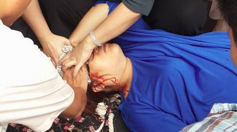 現場民眾看到林婦被空拍機砸中頭部後血流如泉,馬上幫忙止血。