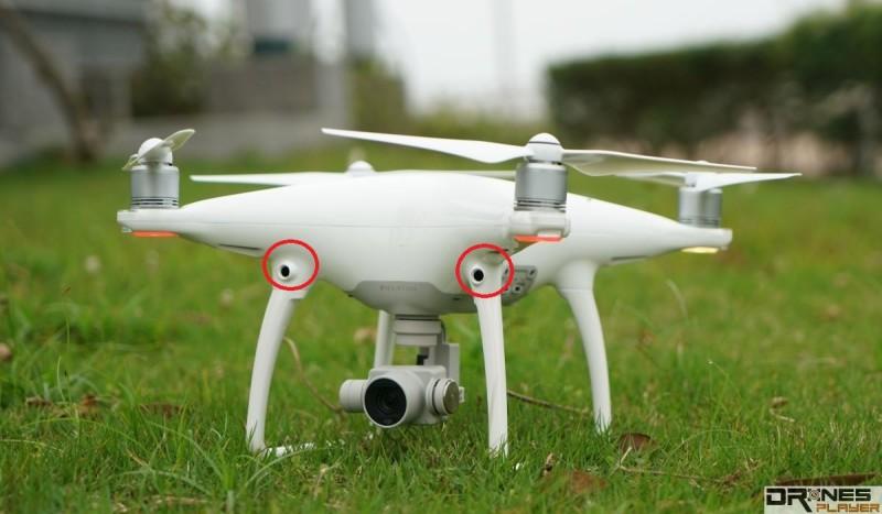 DJI Phantom 4 空拍機機身前方設有兩組視像感應器。