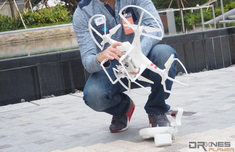 無人機飛行如有異常的傾側,便應重新校正再作測試。