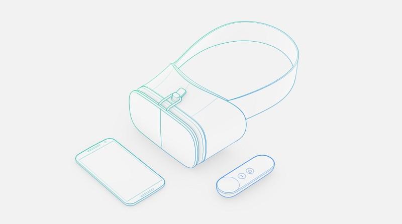 Google 展示了 Google VR 眼鏡及 VR 控制器的概念圖,使用方式是戴上 VR 眼鏡後,可透過控制器操作手機畫面和選項。