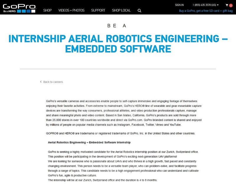 近日 GoPro 忽然公開招聘 2 個實習職位,均屬「航空機械工程」範疇,分別負責嵌入式軟件和電算視覺技術,招聘廣告中指明會參與 GoPro 的無人機開發項目。