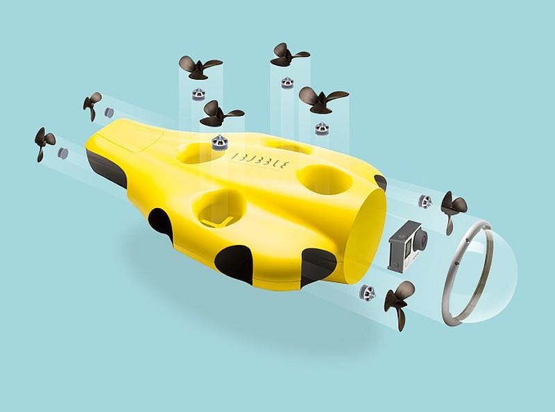 iBubble 的機首內藏一部 GoPro 運動相機,並配備朝向 8 個不同方位的旋槳。