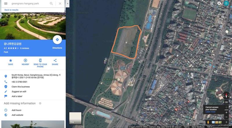 無人機公園(橙圈)佔地廣闊,但每次只容許放飛 30 架無人機。(取自 Google Maps)
