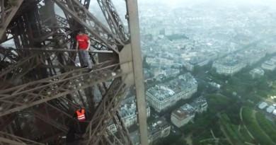 最震撼航拍片!俄羅斯青年徒手爬巴黎鐵塔,還用無人機自拍!