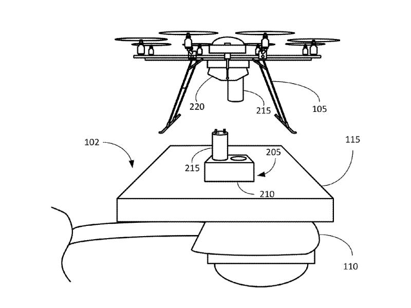 Amazon 無人機停泊站專利圖