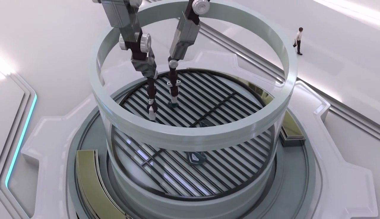 Chemputer 系統會指令機械手臂放置特殊物料至「培養缸」。