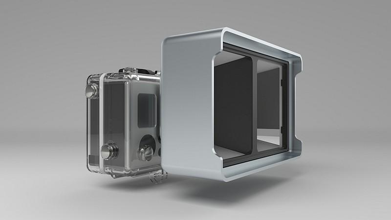 Vitrima 3D Lens 裝配在 GoPro 運動相機後的模樣。