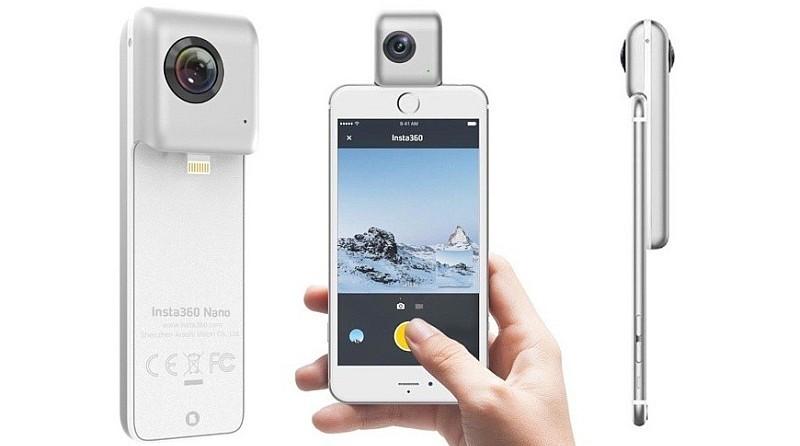 Insta360 Nano 配備 Lightning 接口,插上 iPhone 後即可開始拍攝。