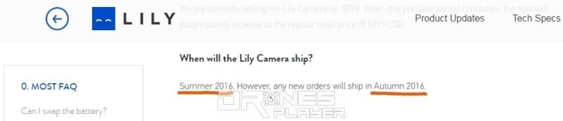 不過,Lily Camera 官網上的問答頁面還未更新,仍然寫著新訂單的付運日期是「2016 年秋季」。(翻攝自 Lily Camera 官網)