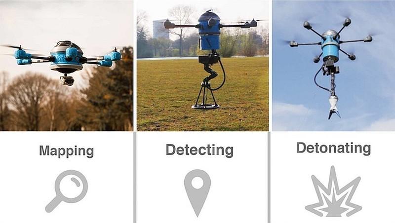 Mine Kafon Drone 只需 3 個步驟即可清除地雷:1) 掃瞄並繪製掃雷區域的地圖;2) 藉由金屬探測器,偵測地雷所在位置;3) 利用機械臂放置炸藥於地雷所在位置,引爆地雷。