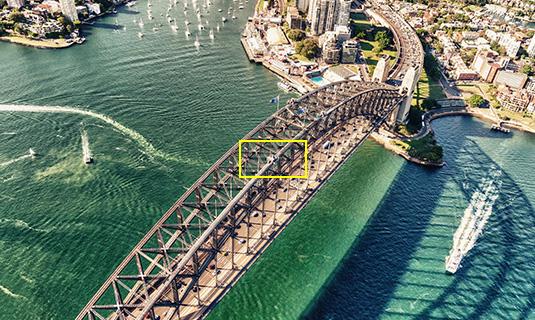DJI 官方釋出的 ZENMUSE Z3 航拍相機變焦前的拍攝圖片。