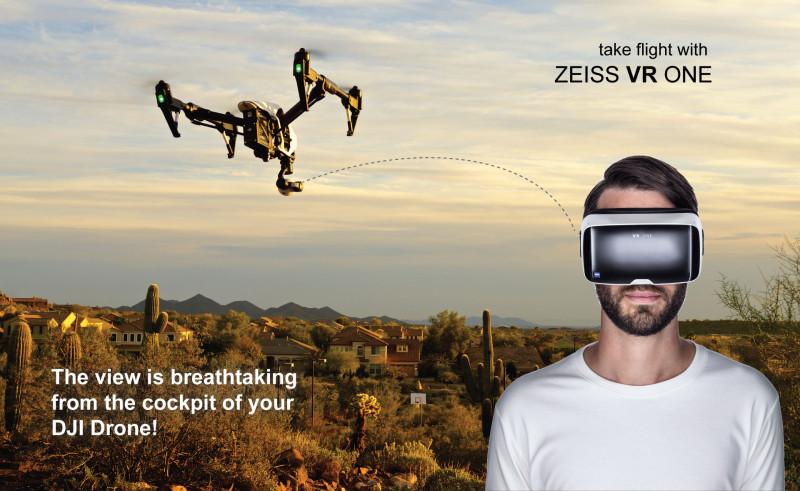 除 Phantom 3 與 Phantom 4 外,Zeiss VR One Plus 眼鏡亦能對應較專業的 Inspire 1系列空拍機。