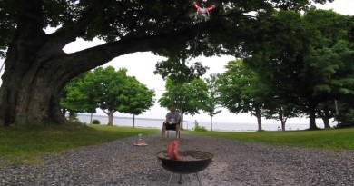空拍機吊著牛排來燒烤是惡搞!無人機裝上噴火槍卻是違法!