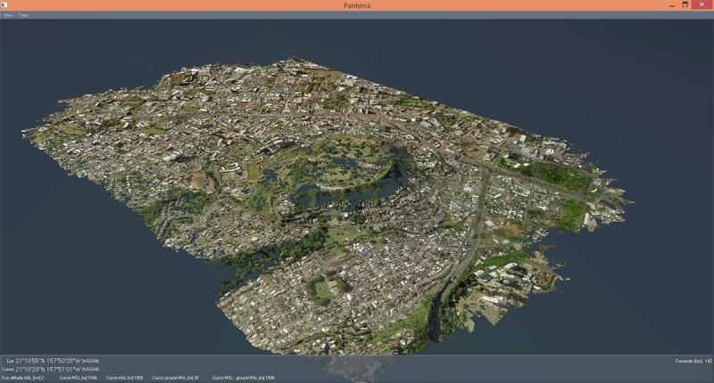 影像傳回地面後,即時製成 3D 地圖。(洛歇馬丁提供照片)