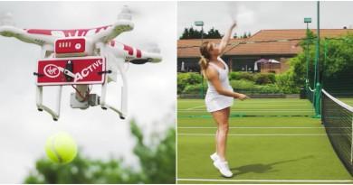 網球無人機 Drone-ovic 空中垂直發球 助你練習擊球扣殺