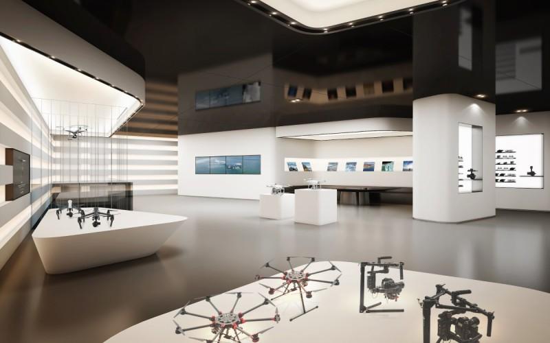 DJI 香港旗艦店一樓:展示更多產品,並會放映 SkyPixel 航拍社群平台用戶的作品-DronesPlayer.com