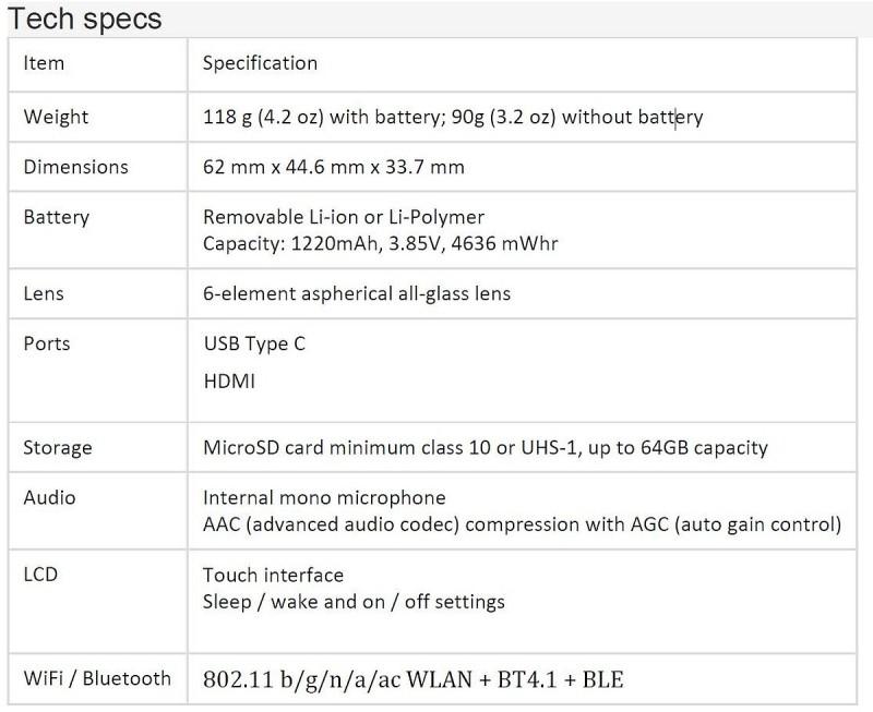 網路上流出疑似是 GoPro HERO5 的規格表。