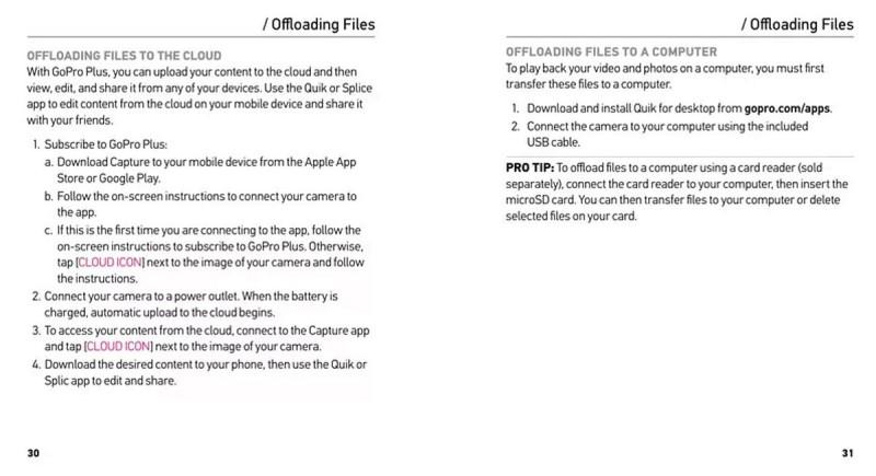 疑似是 GoPro HERO 5 的說明書提及,在「GoPro Plus」支援下,相機會自動上傳影片至雲端備份。