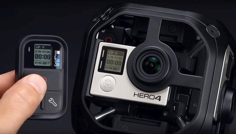 利用 GoPro Omni VR 攝影機套裝內附帶的遙控器,便可同時操控 6 部 Hero 4 Black 進行拍攝,達致同步攝影的效果。