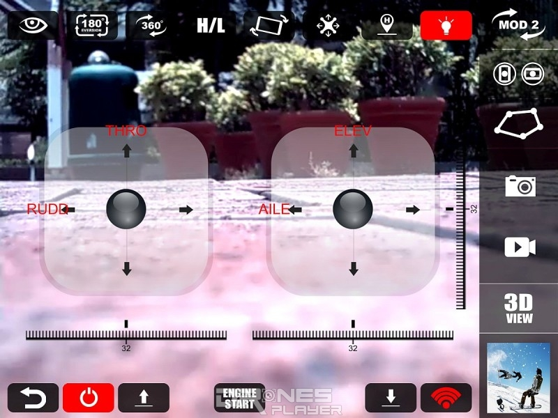 MJX X916H 專屬控制 app《MJX H》的操作介面。