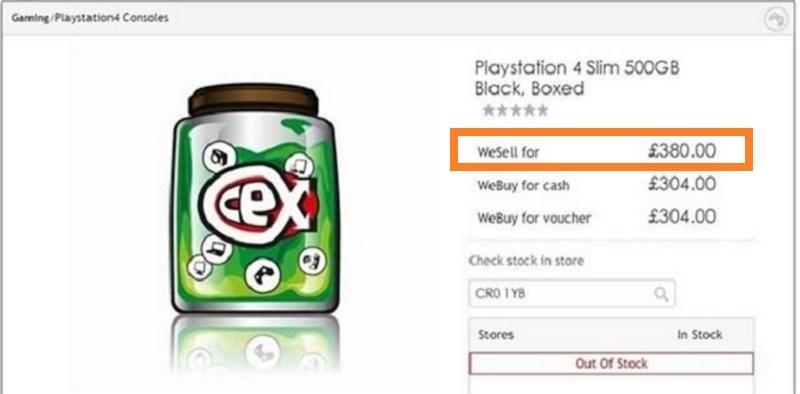 早前英國網店 CeX 將「Playstation 4 Slim 500GB」上架,售價為 380 英鎊,但很快已被下架了。