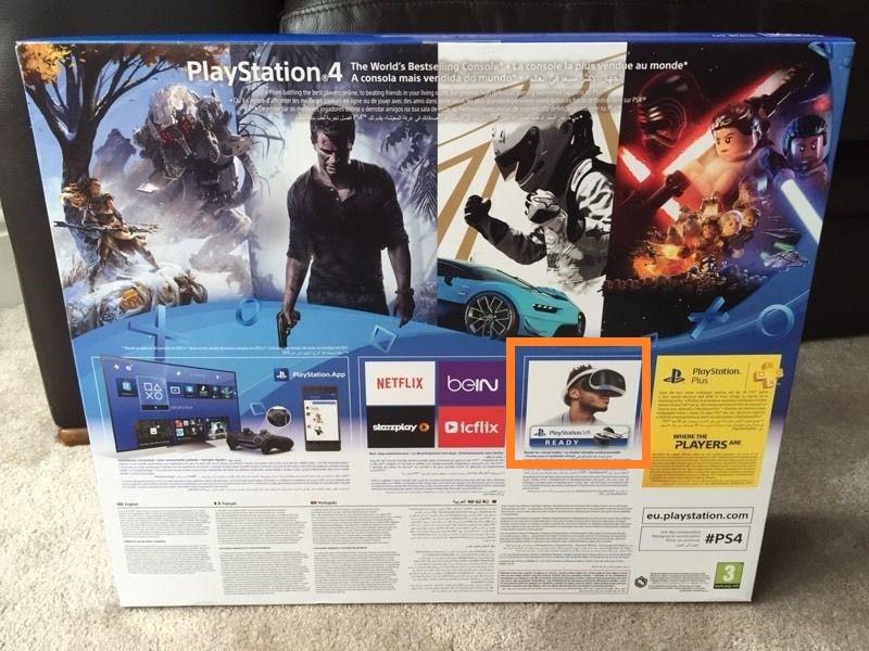 疑似是 PS4 Slim包裝盒的背面標明主機是「PlayStation VR Ready」。