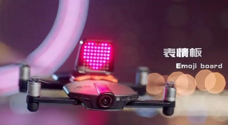 Wingsland S6 無人機的 LED 電子表情板模組,可顯示「心心」或其他表情符號。