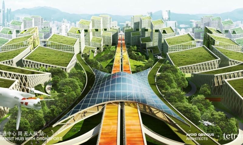設計師預想在深圳寶安區設置無人機高速公路。(Avoid Obvious Architects 設計圖片)