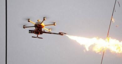 中國噴火無人機 400 度烈焰燒電纜垃圾 網民憂引發山火