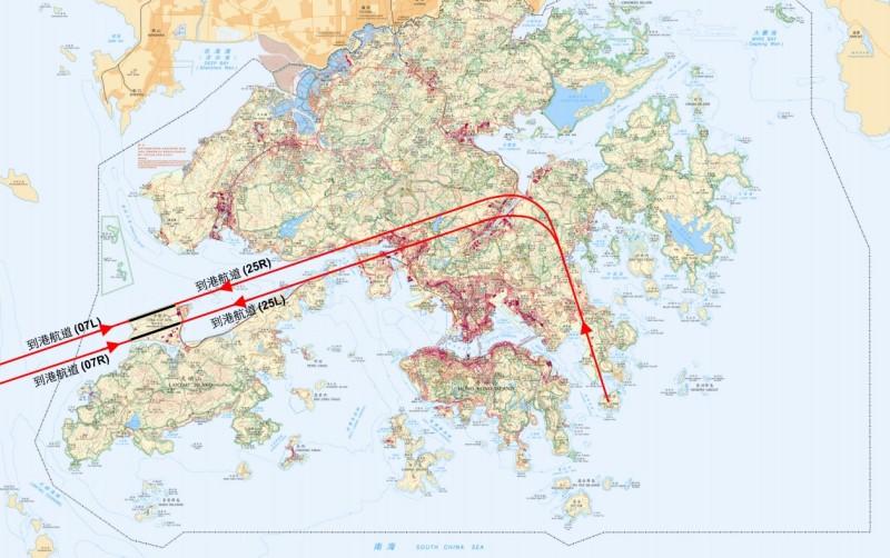 飛機到港航道會途經青衣藍巴勒海峽和大嶼山北面海岸。(圖片來源:翻攝自香港民航處網頁)