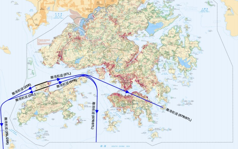 由於飛機離港航道會經過維多利亞港上空,所以維港兩岸是嚴禁放飛無人機!(圖片來源:翻攝自香港民航處網頁)