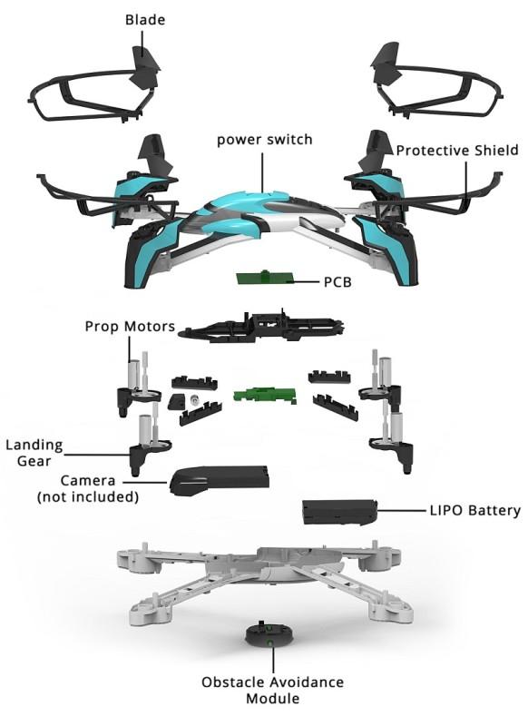 Pantonma Sensor Drone機身採模組化設計,由多件組件裝嵌而成,更可因應用戶個人需要而升級組件。