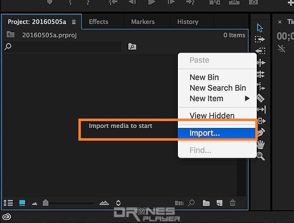 Step 03. 進入主介面後,到左下方的 Project 介面空白位置,按滑鼠右鍵選取 [Import],便可插入航拍影片。