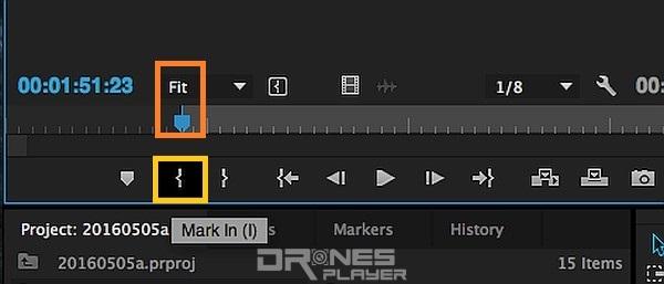 Step 07. 把藍色的指針拖拉至心目中的影片開始時間,然後按下「{ 」(Mark In)按鈕,代表 Mark In 時間前的影片都不要了。