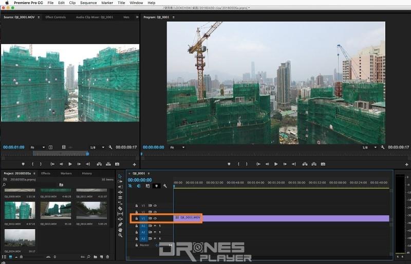 Step 09. 完成修剪後,可在 [Source] 介面的預覽航拍影片畫面,然後拖拉至右下方的 Timeline V1 軌道的 00:00 位置。