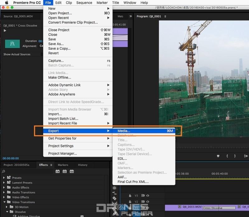 Step 14. 最基本的剪片工作便是修剪及過場,下一步當然是影片輸出,在主功能表選取 [FILE] → [Export] → [Media]。