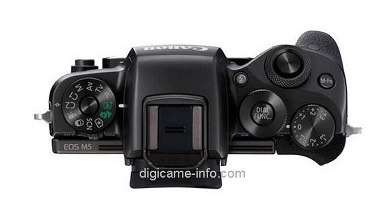 疑似 Canon EOS M5 機頂上設有 3 組轉盤。(圖片來源:翻攝自 Digicame-Info)
