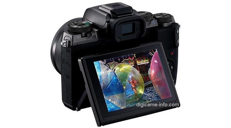 疑似 Canon EOS M5 機背設有可上下翻摺的屏幕。(圖片來源:翻攝自 Digicame-Info)