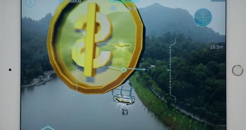 Walkera Aibao 收集模式:玩家依循指定路線收集空中的虛擬金幣,就像《超級瑪利歐兄弟(孖寶兄弟)》般不斷吃金幣以獲取更高分數。