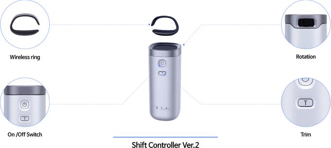 第二個版本:指環無線連接遙控器主體則能無線連接。