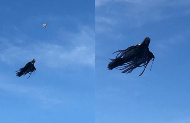 若在白天仔細看,不難發現有無人機吊著「鬼怪」。