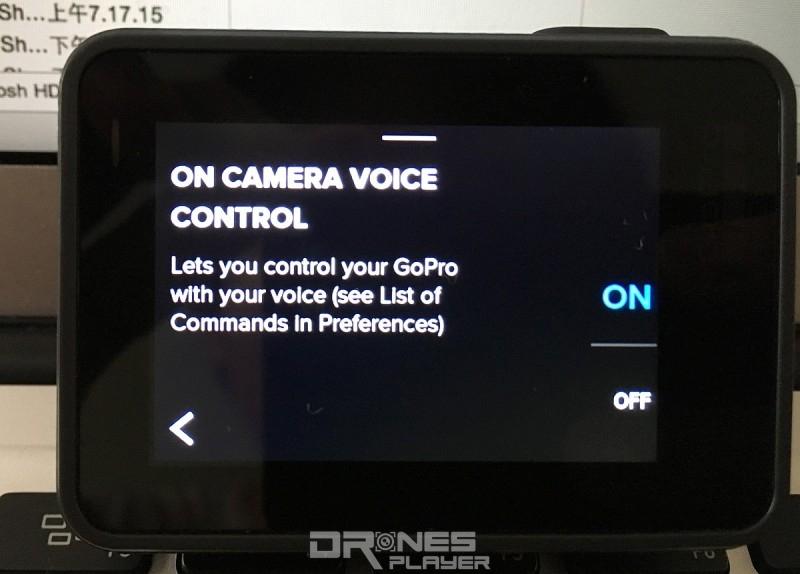 只要在「On Camera Voice Control」頁面中選取「ON」,即可啟動 HERO 5 Black 的語音操控功能。