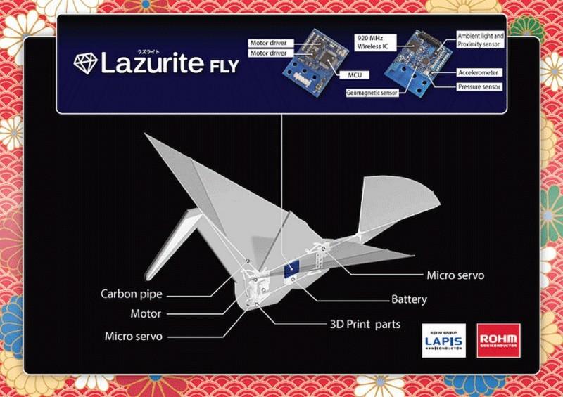 上一代紙鶴無人機 Lazurite Fly 的解構圖,可見其內部構造非常簡單。