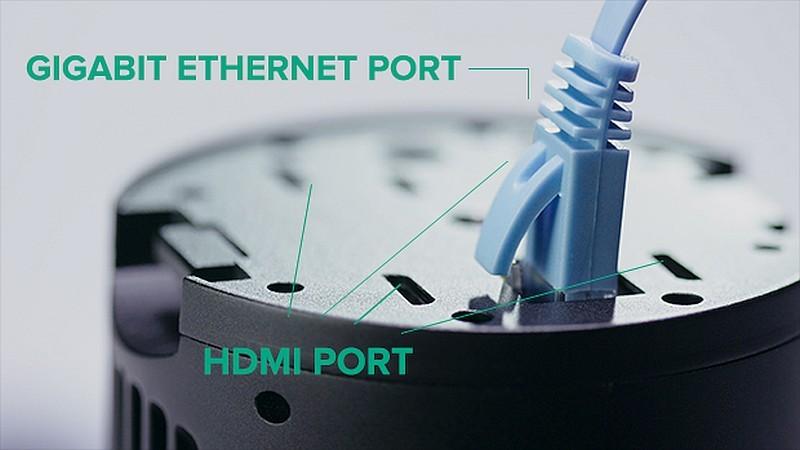 Z-Cam S1 底部設有四個 HDMI 端子及局域網絡接口。