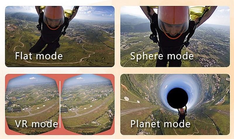 Camorama 提供「Flat Mode」、「Sphere Mode」、「VR Mode」和「Planet Mode」四種瀏覽模式,更可配合VR眼鏡使用,不過只能看到半球形畫面。