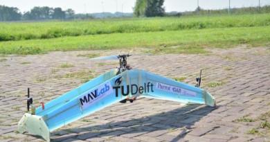 單軸雙定翼無人機 DelftAcopter 曠野試飛運送血液
